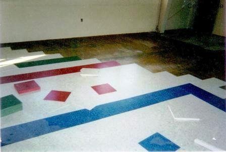 Layout of custom logo in flooring