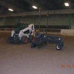 Laser leveling equipment in horse arena