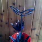metal art flowers and butterfly